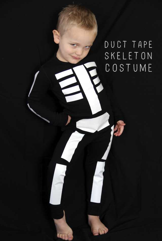 And, For The REALLY Last Minute DIY Halloween Costume, Who Can Resist The  Duct Tape Skeleton Costume? Black Shirt U0026 Pants Or Pajamas, U0026 White Duct  Tape.